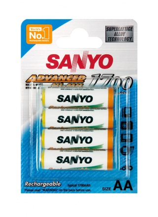 ACCU RECHARGEABLE SANYO HR6 1700MAH - LOT DE 4